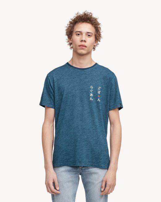 Rag & Bone - Blue Indigo Leaf Print Tee for Men - Lyst