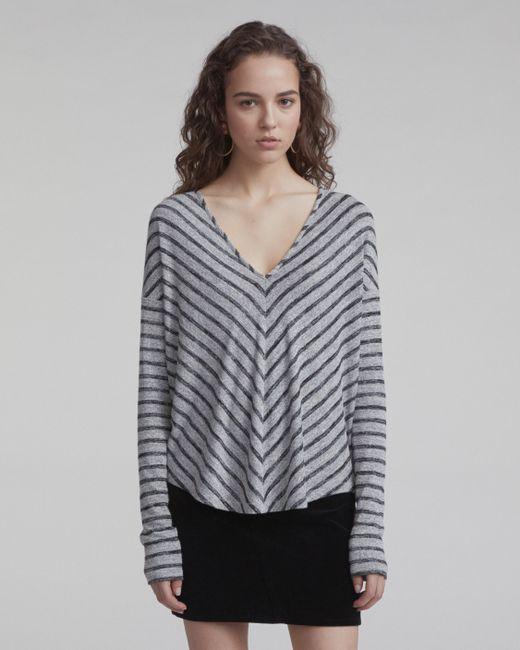 Rag & Bone - Black Striped Hudson Vee Long-sleeve - Lyst