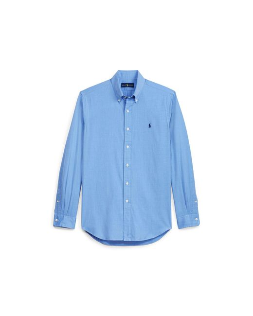 Polo Ralph Lauren - Blue Solid Cotton Poplin Shirt for Men - Lyst