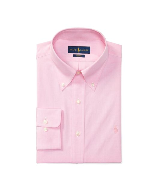 polo ralph lauren no iron cotton dress shirt in pink for