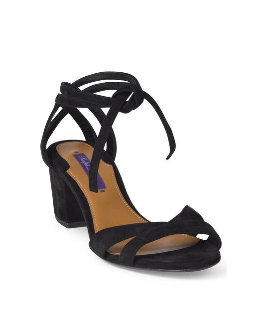 Ralph Lauren | Black Parisa Suede Sandal | Lyst