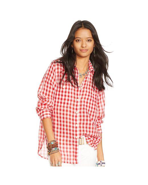 Denim & Supply Ralph Lauren | Red Plaid Cotton Gauze Shirt | Lyst