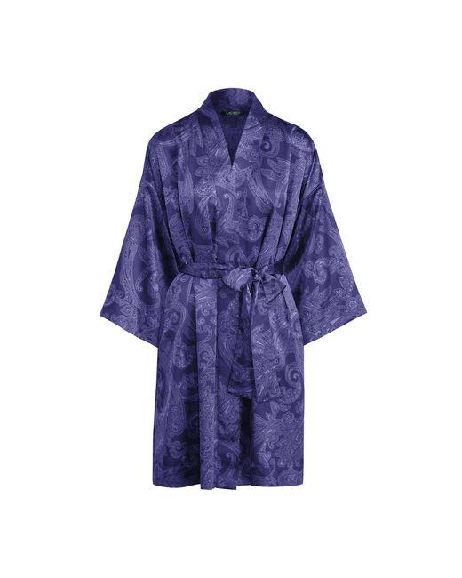 Ralph lauren paisley print satin robe in blue lyst for Robe chemise ralph lauren