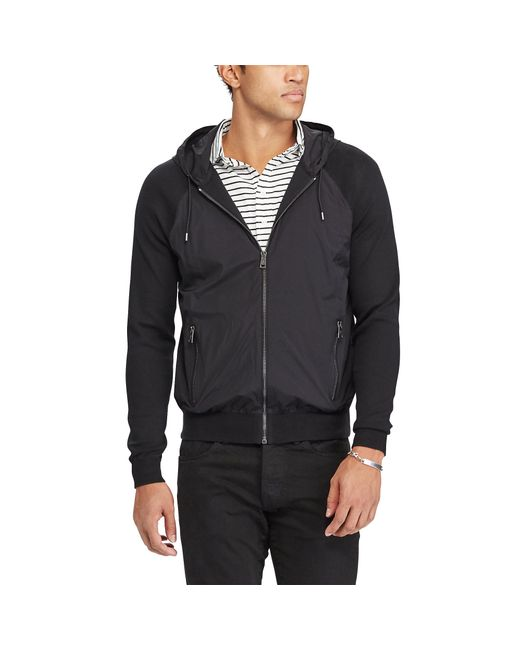 Polo ralph lauren Paneled Cotton Hooded Sweater in Black for Men ...