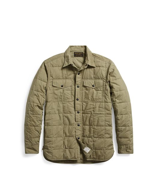 RRL | Green Quilted Cotton Shirt Jacket for Men | Lyst