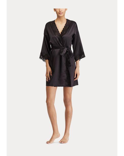 Ralph Lauren Black Satin Kimono Robe