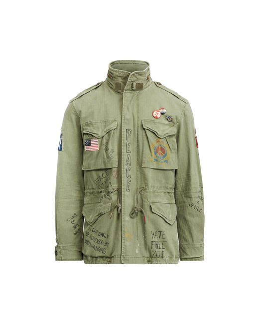 Polo Ralph Lauren Green Twill Graphic Field Jacket for men