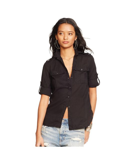 Denim & Supply Ralph Lauren | Black Cotton Twill Shirt | Lyst