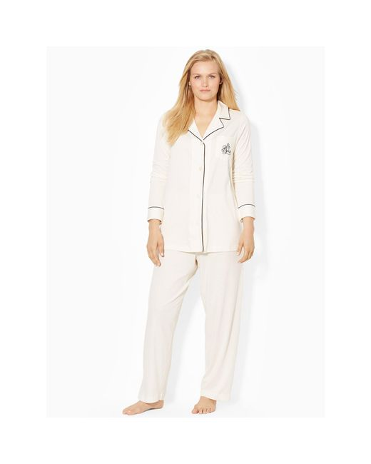 Ralph Lauren | White Cotton Jersey Pajama Set | Lyst