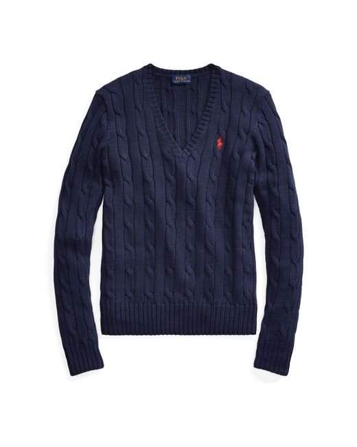 Polo Ralph Lauren - Blue Cable-knit V-neck Sweater - Lyst