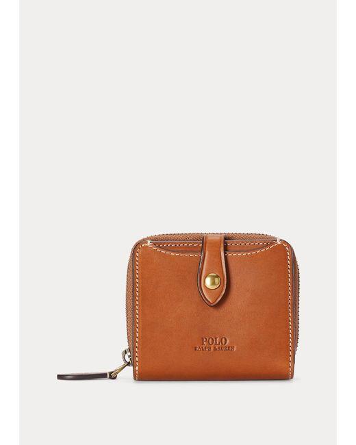 Portefeuille compact en cuir vachette Polo Ralph Lauren en coloris Brown