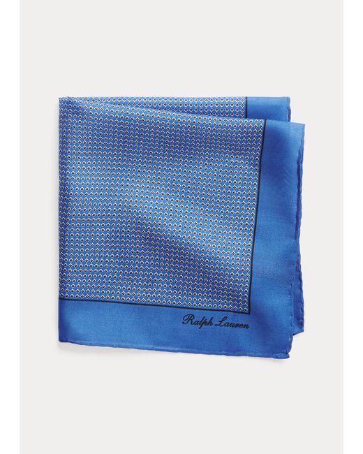 Ralph Lauren Purple Label Blue Neat Silk Pocket Square for men