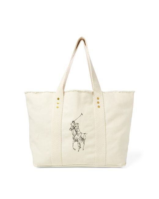 Polo Ralph Lauren - Natural Frayed Canvas Large Tote - Lyst