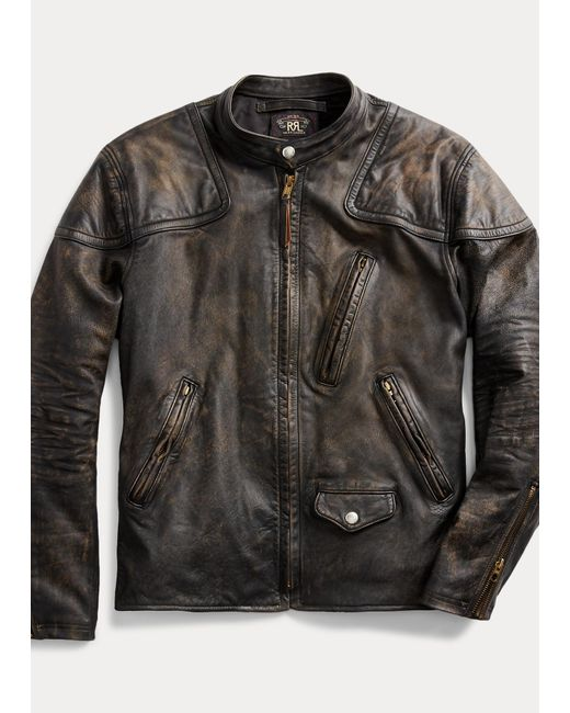 Ralph Lauren Lederbikerjacke im Slim-Fit in Black für Herren
