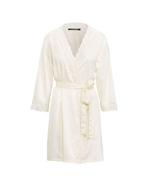 Ralph Lauren - White Lace-trim Satin Robe - Lyst