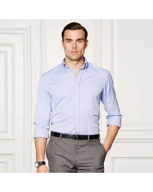 Ralph Lauren Purple Label | Blue Cotton Oxford Shirt for Men | Lyst