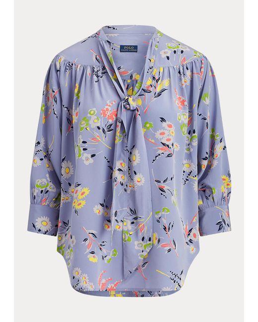 Polo Ralph Lauren Blusa Floral De Seda Con Lazo Al Cuello de mujer de color azul 8n3vo