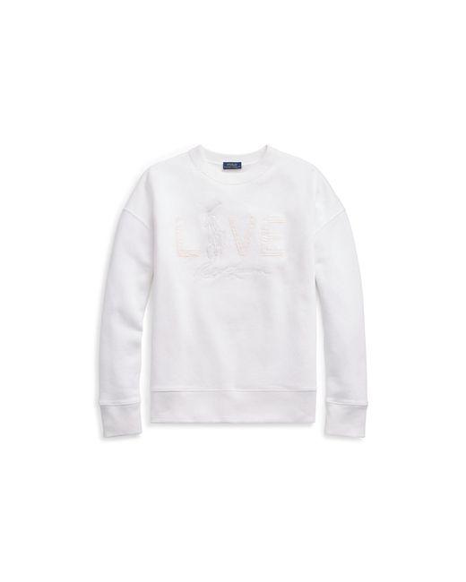 Polo Ralph Lauren - White Pink Pony Fleece Pullover - Lyst