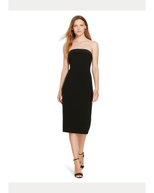Vestido De Traje Con Ribete De Seda Polo Ralph Lauren de color Black