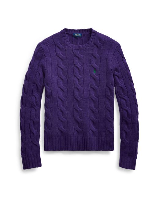 Polo Ralph Lauren Purple Cable-knit Wool-blend Jumper