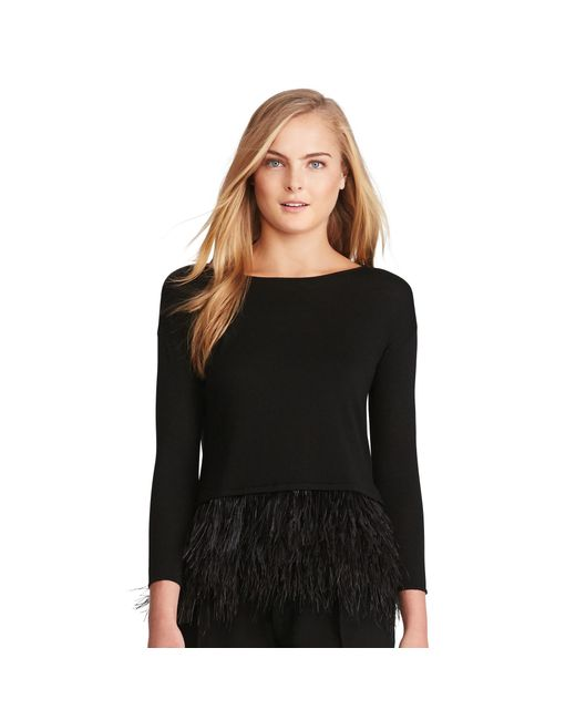 Polo Ralph Lauren | Black Feather-trimmed Merino Sweater | Lyst