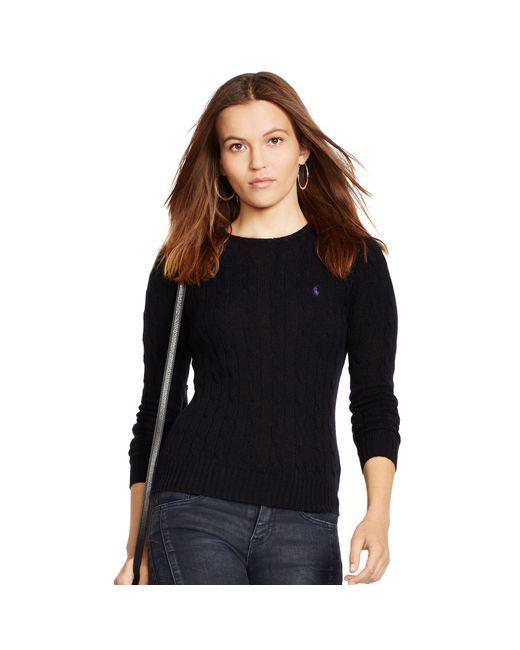 Polo Ralph Lauren | Black Cable Knit Crewneck Sweater | Lyst