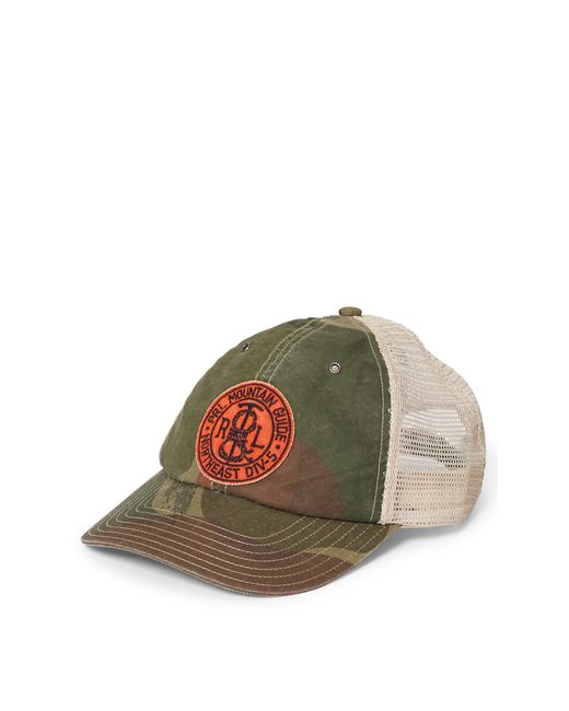 polo ralph camouflage trucker hat in white for