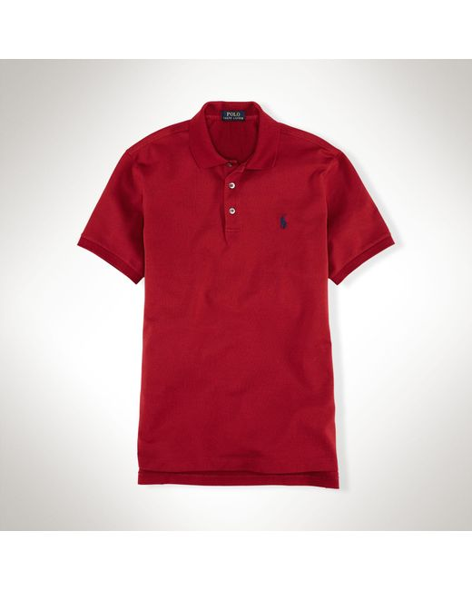Polo Ralph Lauren | Red Slim-fit Stretch Mesh Polo for Men | Lyst