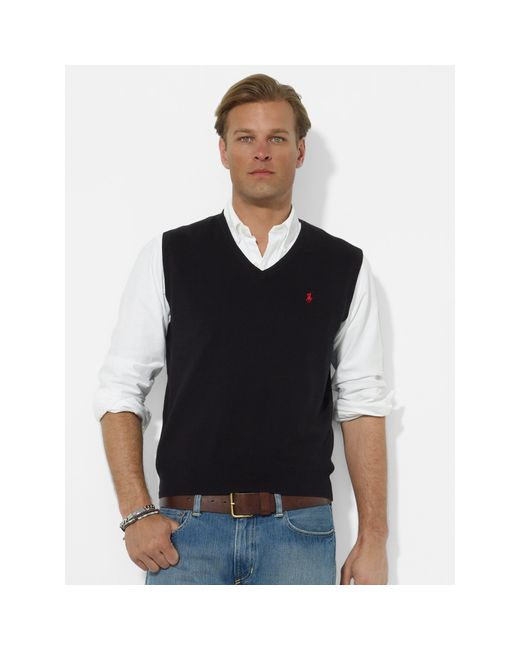 Polo Ralph Lauren | Black Pima Cotton V-neck Vest for Men | Lyst