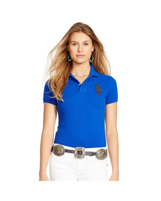 Polo Ralph Lauren | Blue Skinny-fit Big Pony Polo Shirt | Lyst
