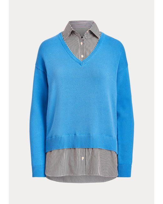 Jersey De Algodón Con Cuello De Pico Ralph Lauren de color Blue