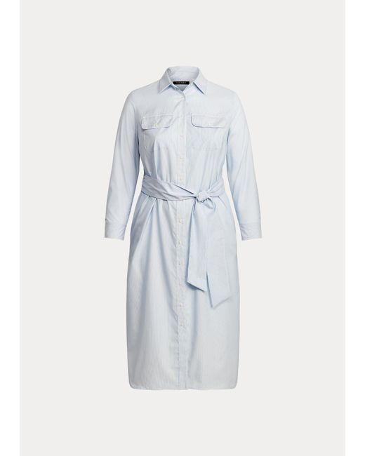 Ralph Lauren Blue Gestreiftes Hemdkleid aus Baumwolle