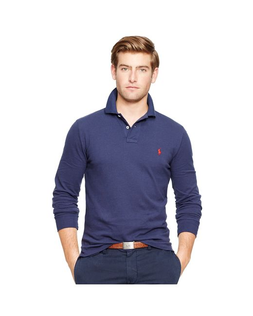 Polo Ralph Lauren   Blue Custom Fit Long-sleeve Polo for Men   Lyst