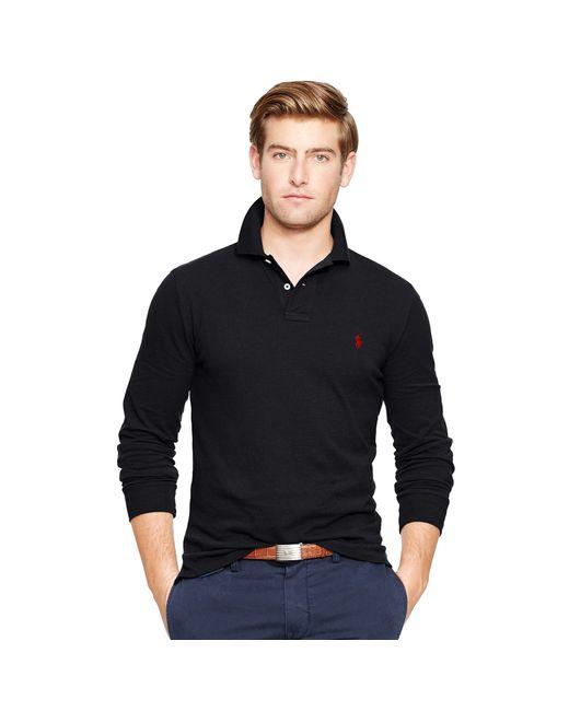 Polo Ralph Lauren | Black Custom Fit Long-sleeve Polo for Men | Lyst