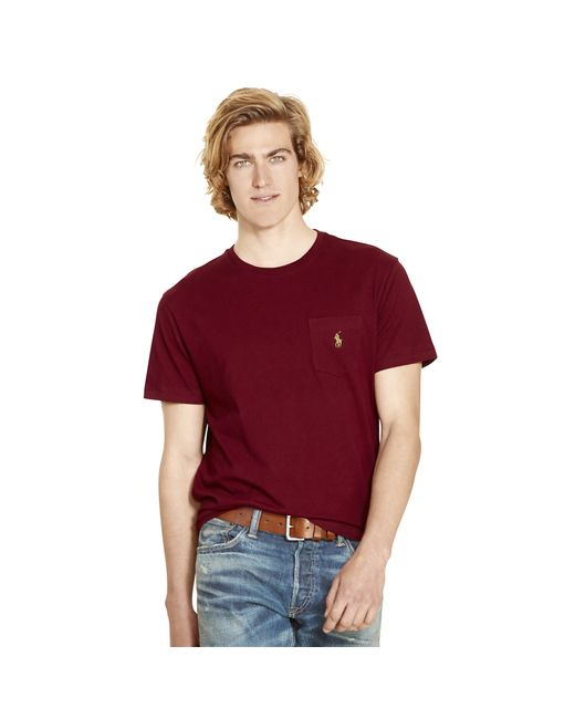 Polo Ralph Lauren | Red Classic-fit Jersey Pocket Crewneck for Men | Lyst