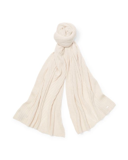Ralph Lauren | Natural Rib-knit Wool-blend Scarf | Lyst