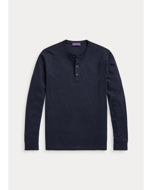 Ralph Lauren Purple Label Henley aus Interlock in Blue für Herren