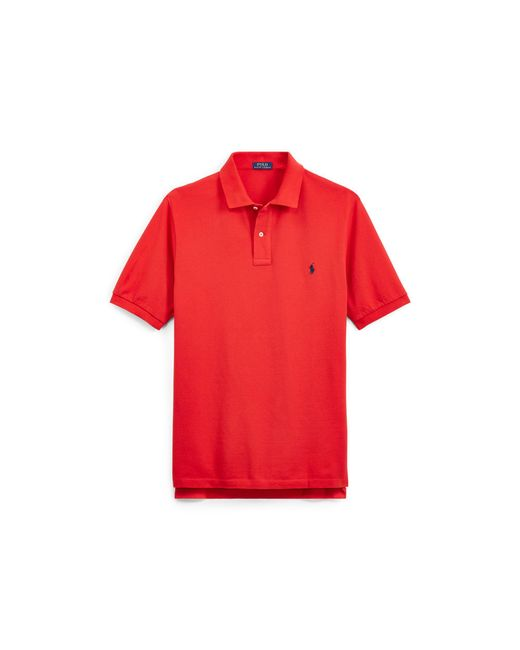 d983b35852 Men's Red Classic Fit Cotton Mesh Polo