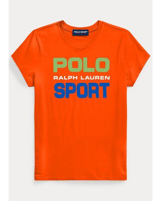 Baumwoll-t-shirt Polo Sport Polo Ralph Lauren de color Orange
