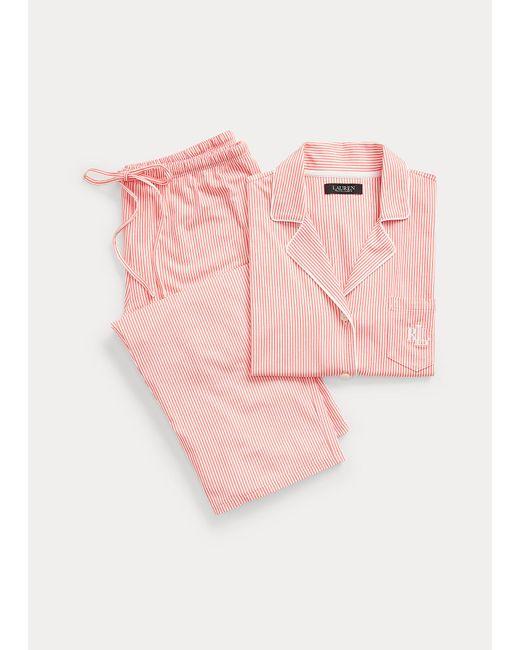 Pigiama Capri in cotone a righe di Ralph Lauren in Pink
