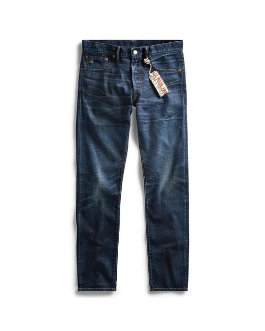 RRL Blue Slim Fit Selvedge Jean for men