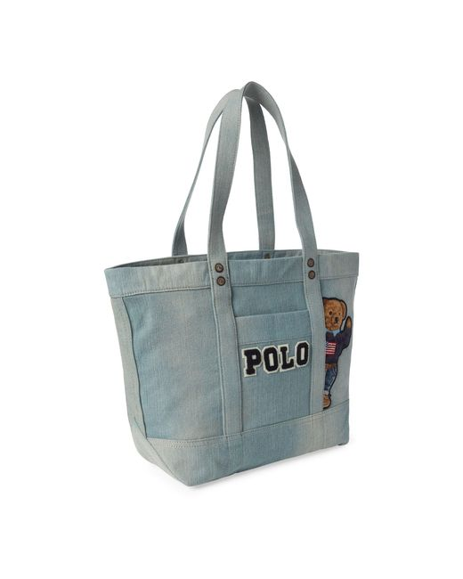 0d909bdeefc1 ... Polo Ralph Lauren - Blue Canvas Polo Bear Tote Bag - Lyst ...