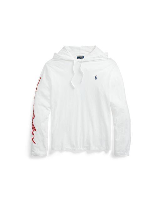Ralph Lauren White Logo Jersey Hooded T-shirt for men