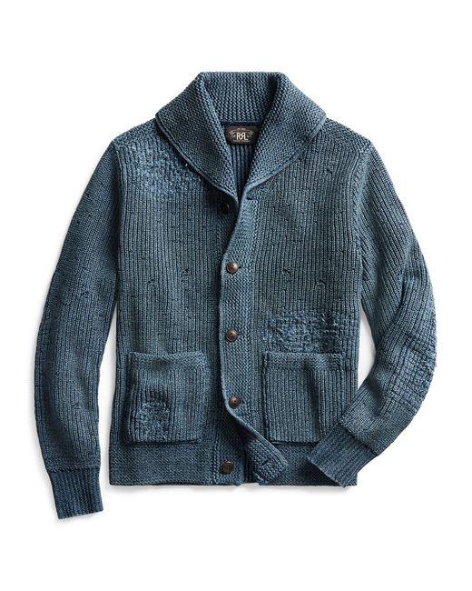 Cardigan en coton vieilli RRL pour homme en coloris Blue