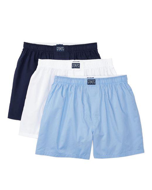 Lot de trois caleçons en coton Polo Ralph Lauren pour homme en coloris Blue