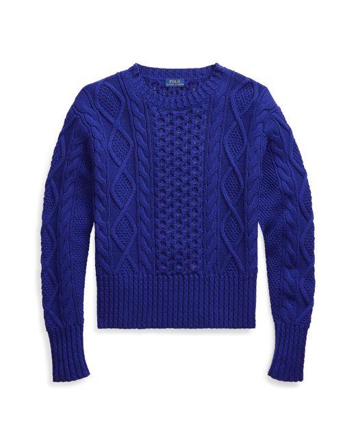Polo Ralph Lauren Blue Cable-knit Cotton Sweater
