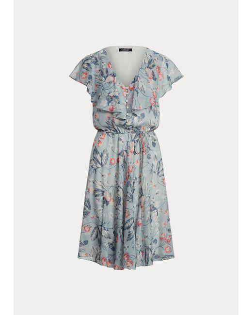 Ralph Lauren Blue Florales Kleid aus Knittergeorgette