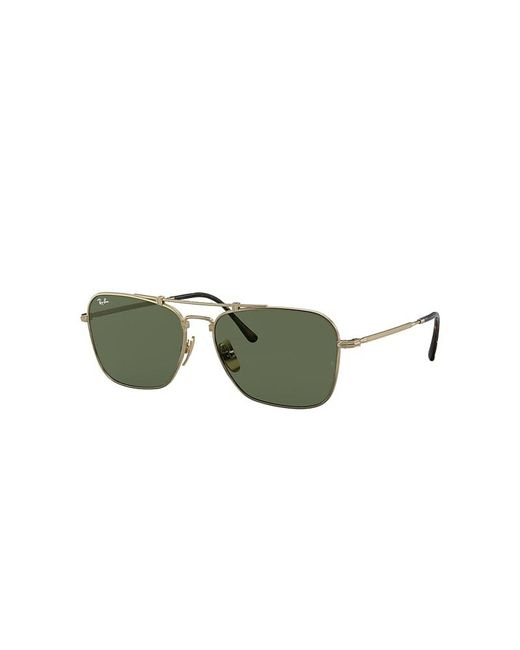 Ray-Ban Multicolor Caravan Titanium Sunglasses Gold Frame Green Lenses 58-15
