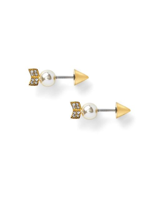 Rebecca Minkoff   Metallic Pearled Arrow Earring   Lyst