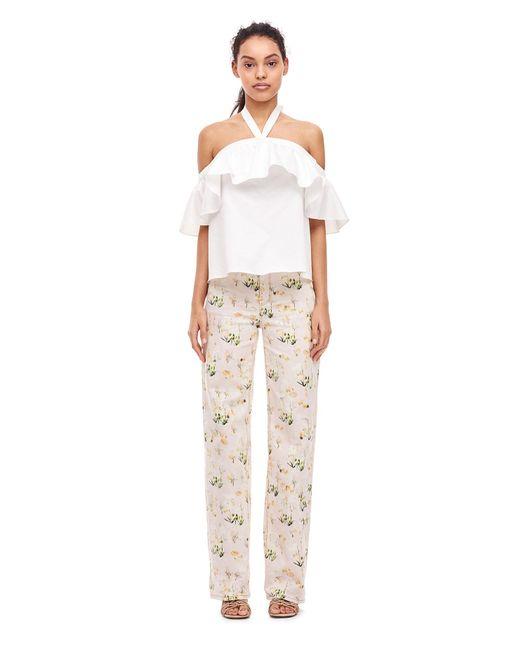 Rebecca Taylor | White Open-shoulder Halter Cotton Top | Lyst